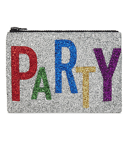 I KNOW THE QUEEN Party glitter clutch (Multi