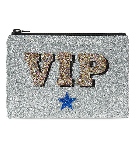 I KNOW THE QUEEN VIP glitter clutch (Silver