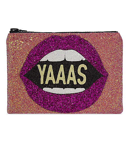 I KNOW THE QUEEN Yaaas glitter clutch (Pink multi