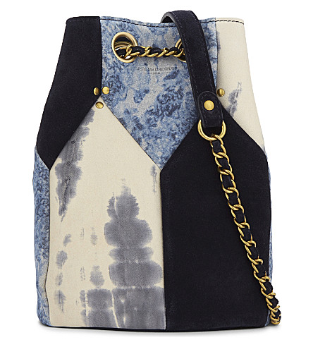 JEROME DREYFUSS Popeye suede and leather bucket bag (Tie & dye caviar