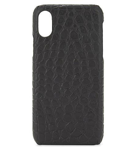 THE CASE FACTORY Crocodile-embossed leather iPhone X case (Crocodile+black