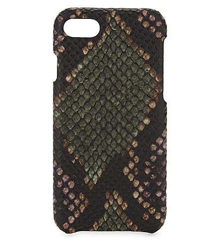 THE CASE FACTORY Python-embossed leather iPhone 7/8 case (Python+multicolor