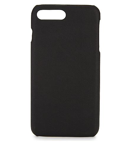案例工厂粒度皮革 iPhone 外壳 (黑色