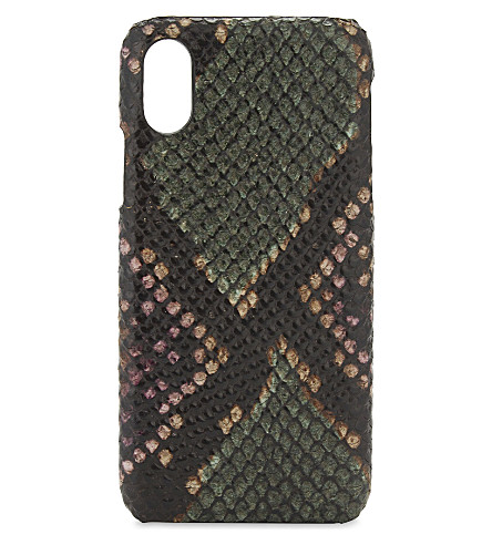 THE CASE FACTORY Python-embossed leather iPhone X case (Python+multicolour