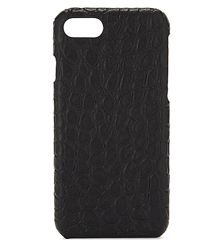THE CASE FACTORY Crocodile-embossed leather iPhone 7/8 case (Black