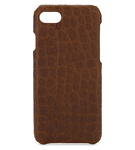 THE CASE FACTORY Crocodile-embossed leather iPhone 7/8 case (Cognac
