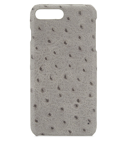 THE CASE FACTORY Ostrich-embossed iPhone 7 plus/ iPhone 8 plus case (Ostrich+grey