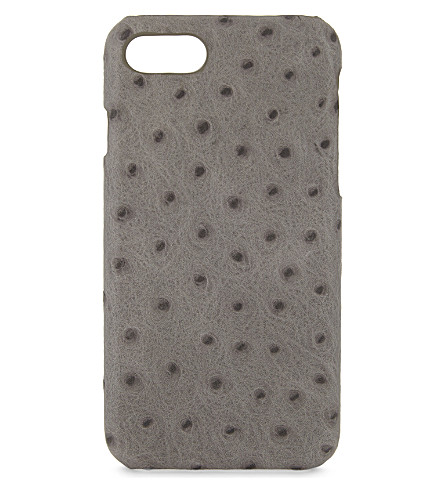 THE CASE FACTORY Ostrich-embossed leather iPhone 7/8 case (Grey