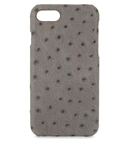 案例工厂鸵鸟浮雕皮革 iPhone 7/8 案件 (灰色