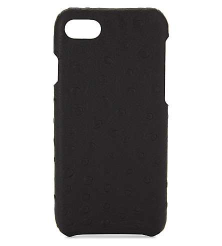 THE CASE FACTORY Ostrich-embossed leather iPhone 7/8 case (Black
