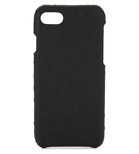 THE CASE FACTORY鸵鸟浮雕皮革 iPhone 7/8 情况 (黑色