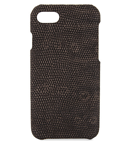 THE CASE FACTORY Iguana-embossed leather iPhone 7/8 case (Mud