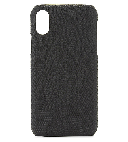 THE CASE FACTORY Lizard-embossed leather iPhone X case (Lizard+black