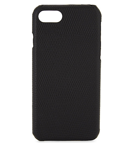 THE CASE FACTORY Lizard-embossed leather iPhone 7/8 case (Black