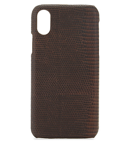 THE CASE FACTORY Lizard-embossed iPhone X case (Lizard+brown