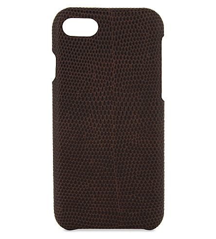 THE CASE FACTORY Lizard-embossed leather iPhone 7/8 case (Brown