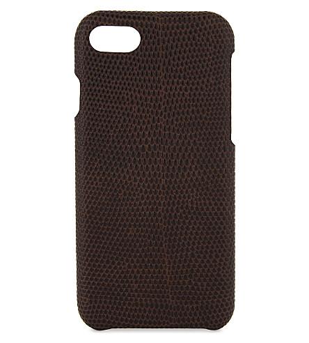 案例工厂蜥蜴浮雕皮革 iPhone 7/8 案件 (棕色