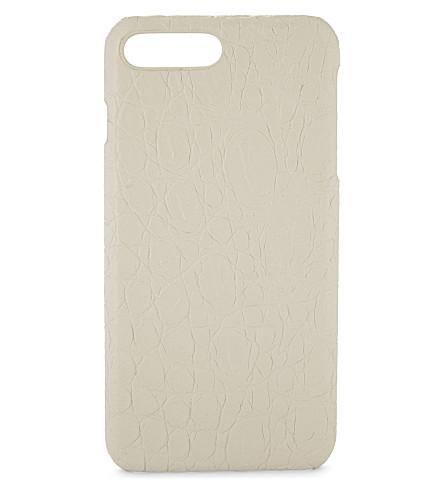 案例工厂鳄鱼浮雕无光泽皮革 iPhone 7 Plus/8 + 外软软软软软软软壳面料面料面料面料面料面料面料 (哑光 + 白色