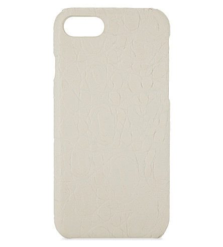 THE CASE FACTORY 哑光鳄鱼纹压花真皮 iPhone 7/8 大小写 (哑光 + 白色