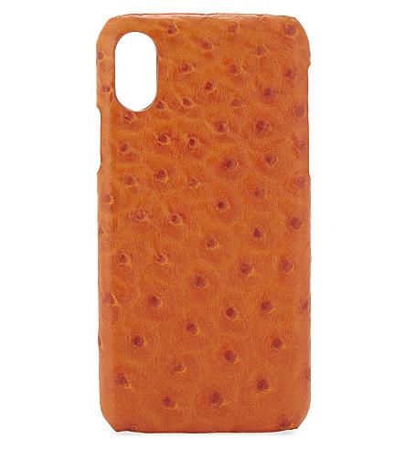 案例工厂鸵鸟浮雕皮革 iPhone X 壳 (鸵鸟 + 橙
