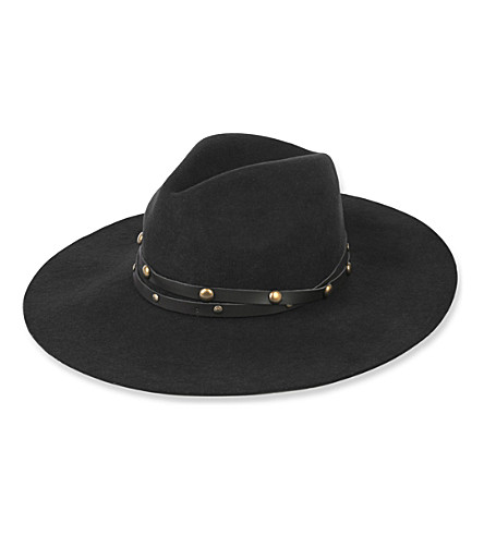 SENSI STUDIO Studded wool-felt fedora hat (Black