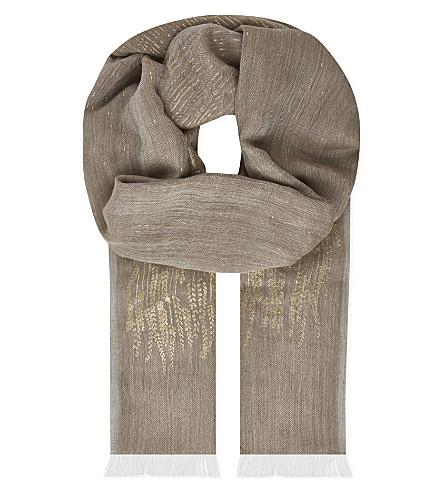INOUITOOSH Metallic leaf wool scarf (Natural
