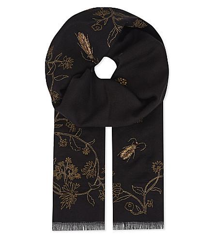 JANAVI Floral and bug embroidered cashmere scarf (Black
