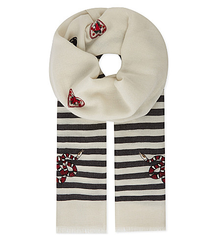 JANAVI Skull and snake embroidered wool and silk-blend scarf (Ivory/black