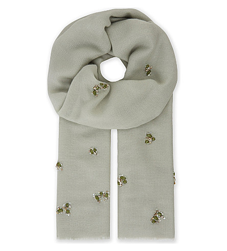 JANAVI Beaded cashmere scarf (Dusty+sage