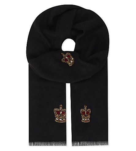 JANAVI Crown and crest cashmere scarf (Black