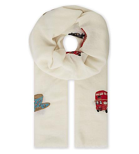 JANAVI London wool-blend scarf (Ivory