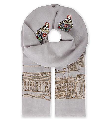 JANAVI London eye wool scarf (Silver+grey