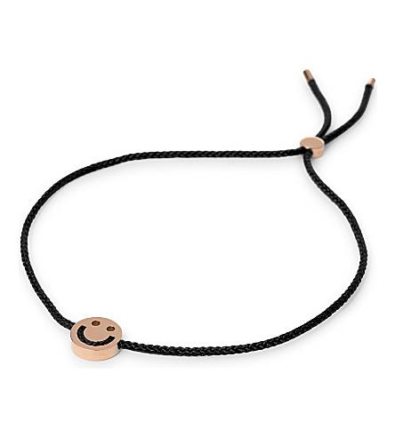 RUIFIER Friends Happy rose-gold cord bracelet (Rg/black