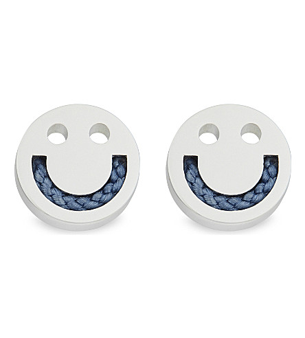 RUIFIER Happy friends cord stud earrings (Slv/duskyblue