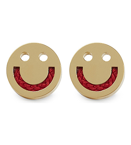 RUIFIER Friends Happy yellow gold cord stud earrings (Gld/red