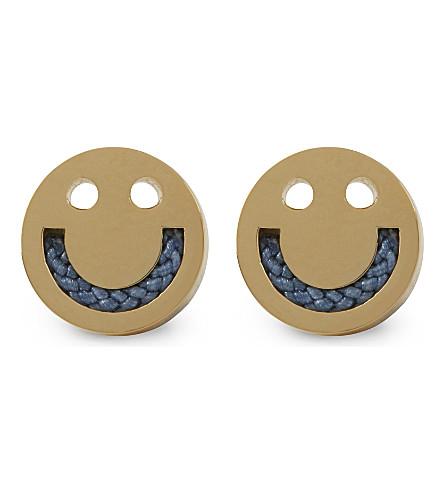 RUIFIER Friends happy face gold stud earrings (Gld/duskyblue