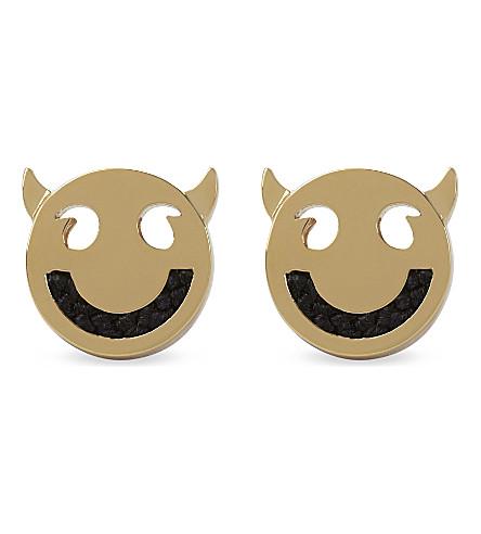 RUIFIER Friends wicked cord gold stud earrings (Gld/black