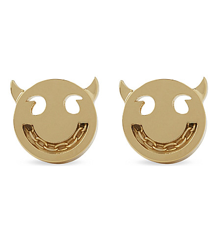 RUIFIER Visage wicked face 18ct gold stud earrings (Gold