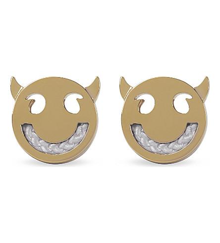 RUIFIER Friends Wicked yellow gold cord stud earrings (Gld/light+grey