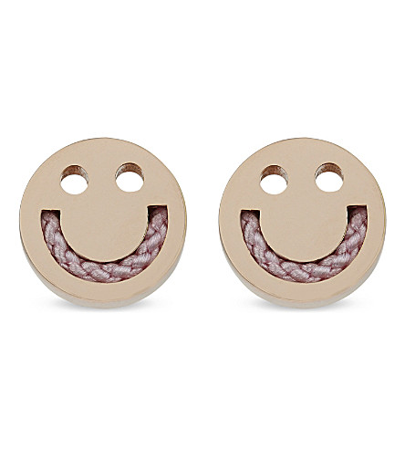 RUIFIER Friends Happy Cord 18ct rose gold stud earrings (Rg/rose+pink