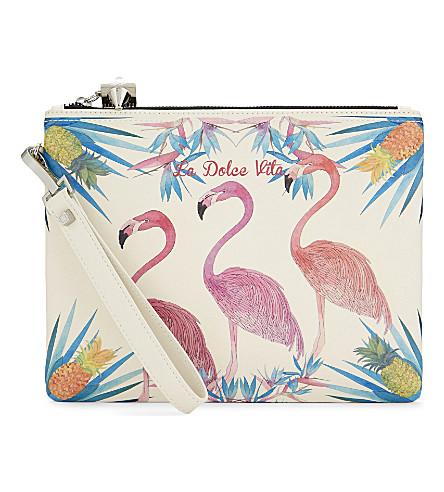 EMM KUO La Dolce Vita Flamingo leather pouch (Multi