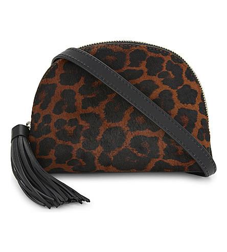 LOEFFLER RANDALL Leopard-print haircalf and leather cross-body bag (Leopard