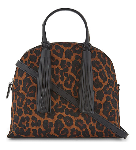LOEFFLER RANDALL Haircalf Dome Satchel (Leopard