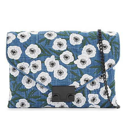 LOEFFLER RANDALL Floral denim clutch (Ind/anem