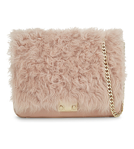LOEFFLER RANDALL Shearling front flap leather cross-body bag (Ppink/sand
