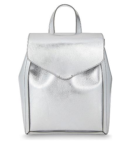 LOEFFLER RANDALL Mini leather backpack (Silver