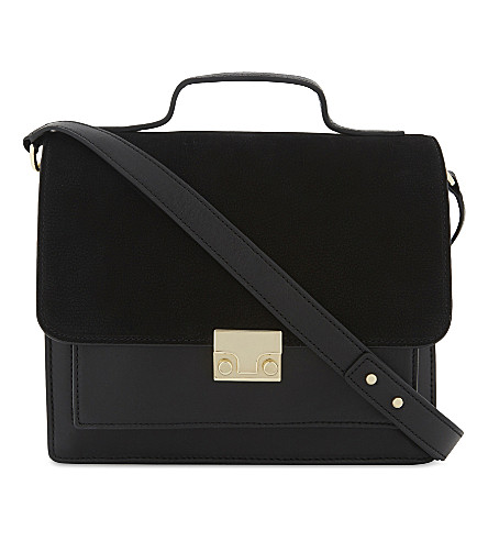 LOEFFLER RANDALL Large nubuck and leather shoulder bag (Blk/blk