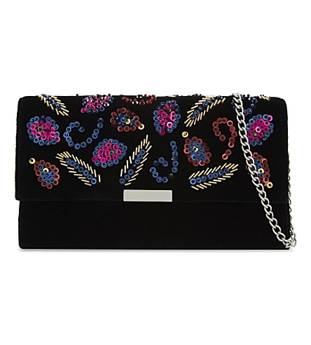 LOEFFLER RANDALL Tab sequin-leaf velvet clutch (Black+multi