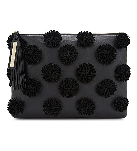 LOEFFLER RANDALL Pom-pom leather pouch (Black/black