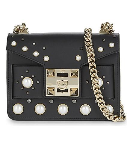 SALAR Mila pearl leather shoulder bag (Black